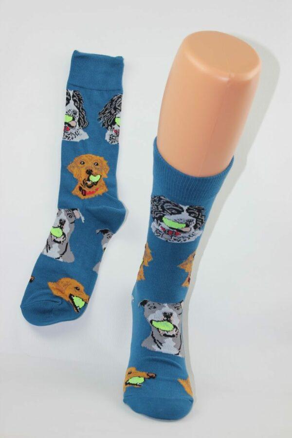 hond met bal sokken