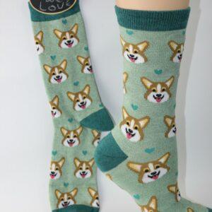 bamboo corgi gezicht sokken