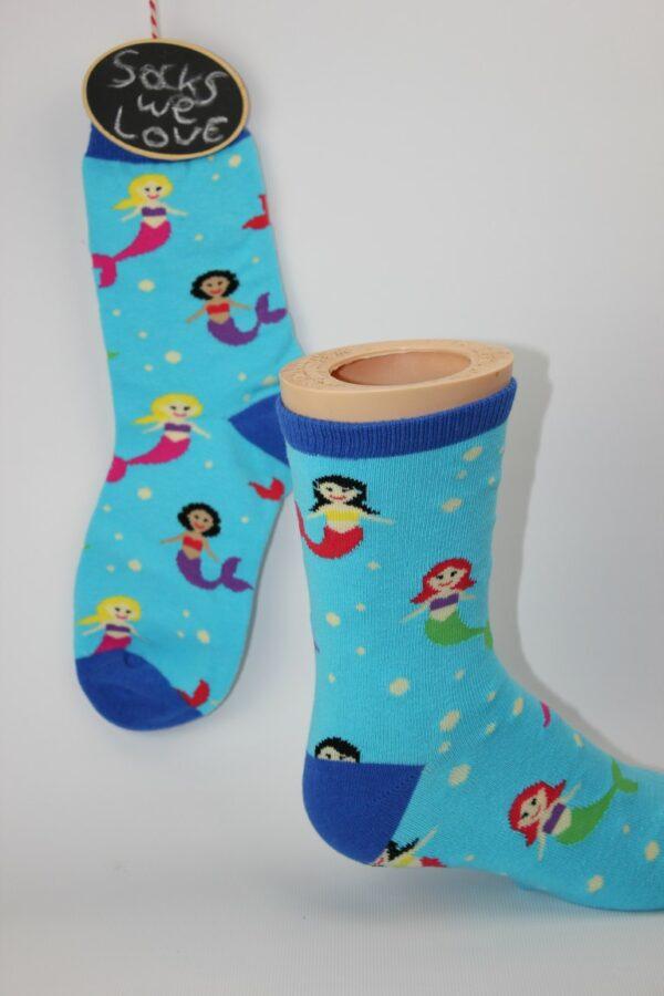 kinder zeemeermin sokken blauw