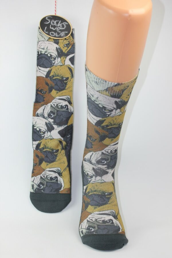 pug honden sokken man