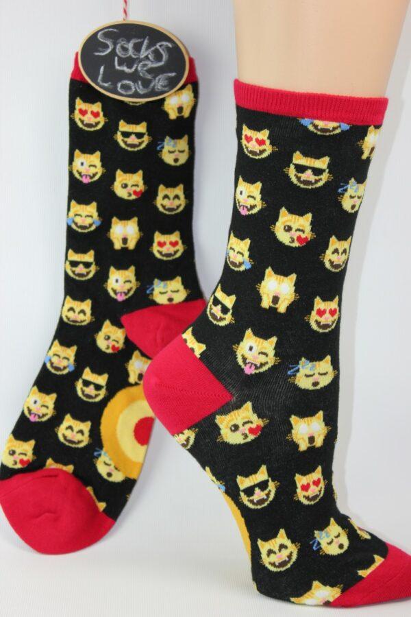katten emoji sokken vrouw