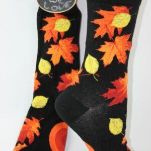 mooie herfstbladeren op sokken