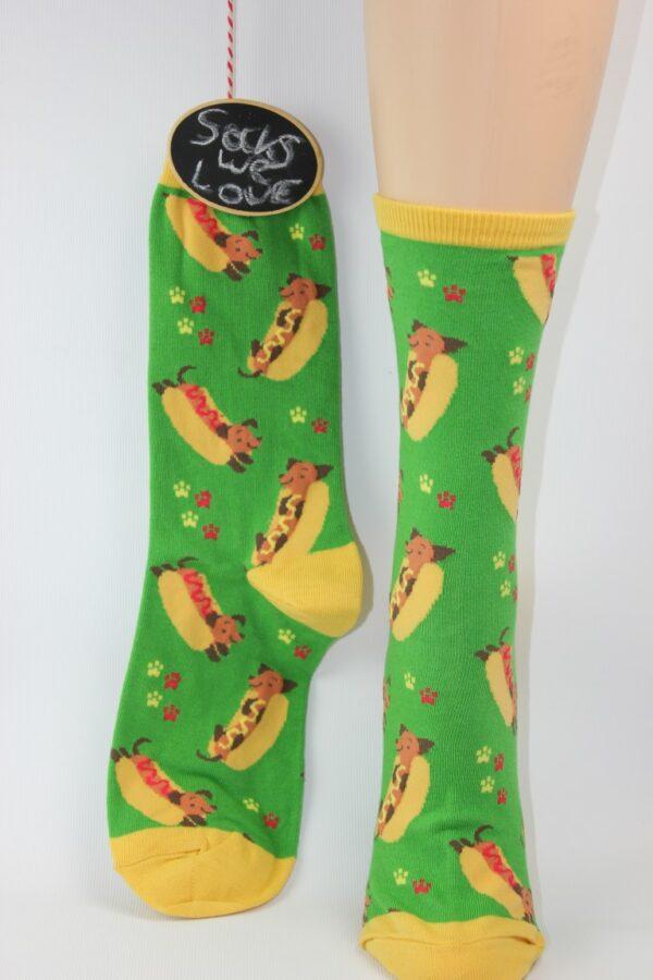 happy hotdog teckel sokken