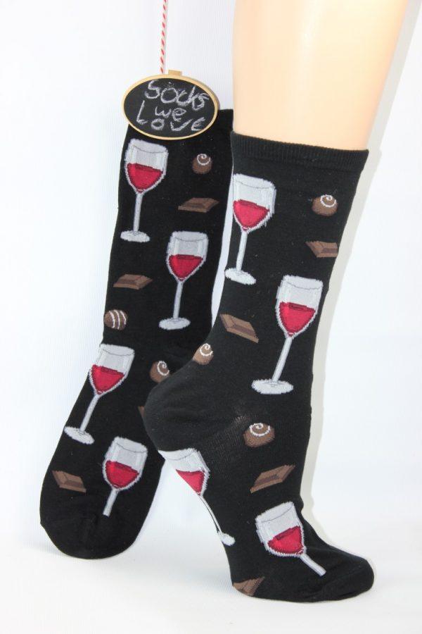 wijn chocolade sokken vrouw
