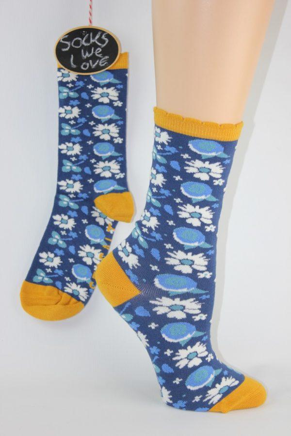 bamboo bloemen blauw