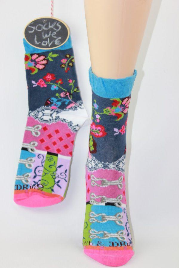 fun sokken denim bloemen