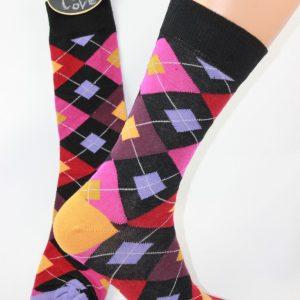 lila rode ruit sokken
