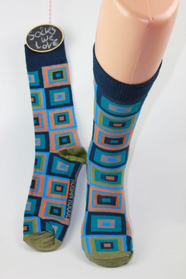 blauwe cubes heren sokken