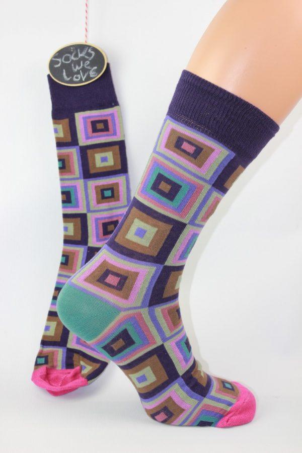 Paarse cubes heren sokken